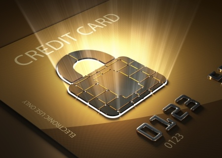Credit card and lock shaped contact point - Concept of secure transactions
